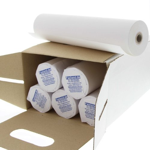 6 rotoli di carta termica per fax 210 mm 30 m 12 mm