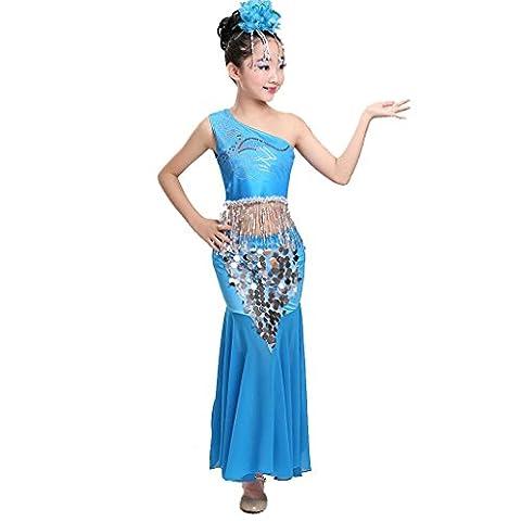 Wgwioo kinder pfau bauch tanz performance kostüm mädchen fischschwanz rock klassische sequins mädchen tragen kinder bühnen studenten chor gruppe team , 4# , (Gruppe Von Vier Kostüme)