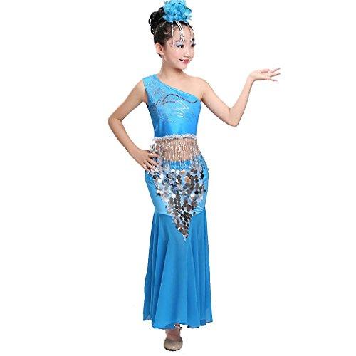 Wgwioo kinder pfau bauch tanz performance kostüm mädchen fischschwanz rock klassische sequins mädchen tragen kinder bühnen studenten chor gruppe team , 4# , (Size Kostüme Plus Tanz Bauch)