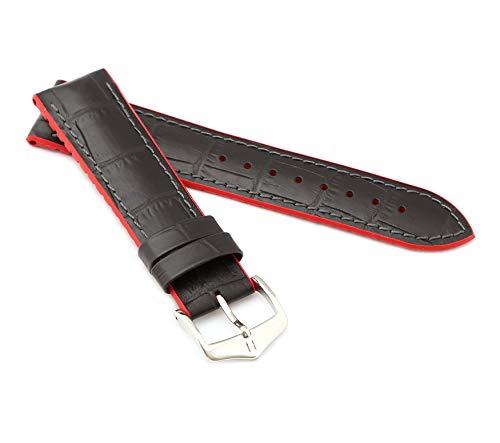 mance Uhrenarmband Modell Andy 22 mm Schwarz/rot ()