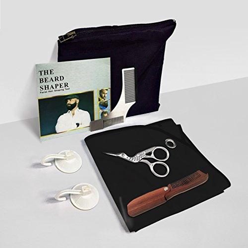 Bart Gestaltung Tool Kit–Edelstahl Styling Vorlage + Hohe Qualität Lätzchen Schürze + faltbar Sandelholz Kamm + trimmen Schere + Reisetasche