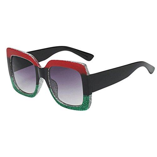 gafas de sol polarizadas Clásico Unisexo Cuerno Rimmed Años 80 Retro con marco multicolor gafas de sol unisex mujer hombre Lente gradiente vintage gafas de sol de lujo (Oversized Square Sunglasses C)