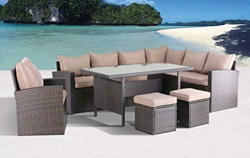 Hohe Dinning Poly Rattan Lounge inkl. Einem Sessel und Zwei Hocker Milos XL braun auch spi