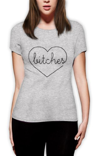Bitches Matching-Paare Frauen T-Shirt Slim Fit Grau