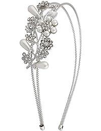 LUX accesorios de novia declaración de perlas de flores de novia diadema