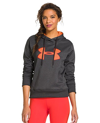 Citrus Blast (Under Armour Damen Top UA Big Logo Applique Hoody, Carbon Heather/Citrus Blast/Neo Pulse, XS)