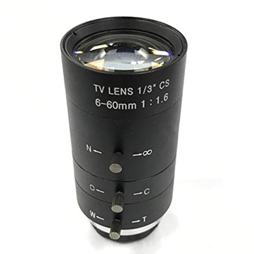Elviray CCTV Video Lens Handbuch IRIS Zoom 6-60mm CS Mount Objektiv für Industriemikroskop Varifocal CCTV Objektiv Überwachungskamera Objektiv -