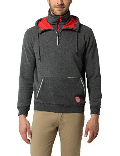 Lower East Herren Kapuzen-Sweatshirt, Kontrast-Reißverschluss und Kapuzenfutter Grau (Anthrazit Melange)