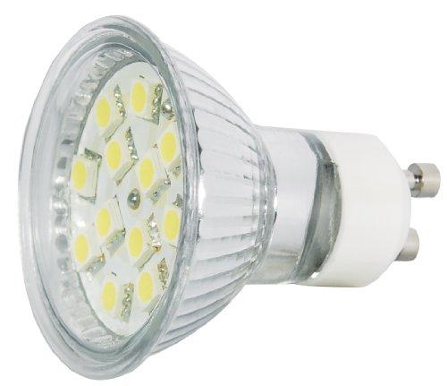 Transmedia Power SMD LED Spot 230V/3W, 200 lm, GU10, 120°, CRI/RA: 80, nicht dimmbar, 12 LED-SMD 5050, ø 50 x 53 mm, kaltweiß, (6000K) LP6-3CL