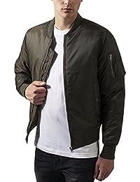 Urban Classics Herren Jacke - Basic Bomber Jacket, Bomberjacke mit aufgesetzter Tasche und Zipper am Arm (stylische, kurze Jacke)