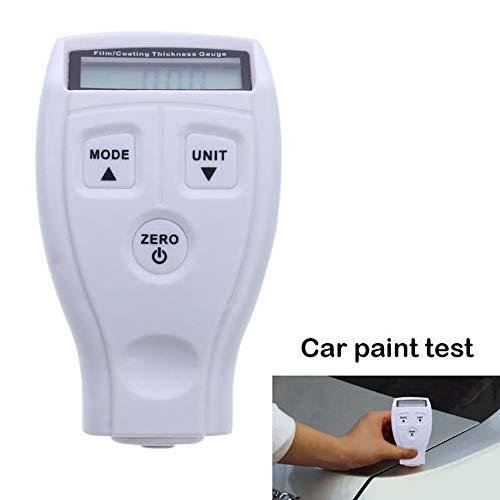 Malen Dickenprüfer Mini LCD Auto Beschichtung Dicke Messgerät Mini Tragbare Farbe Auto Beschichtung Lackstärke Dicke Digital Messgerät Tester, weiß (Tester Thickness Paint)