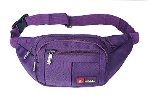 Toudorp Wasserdicht Gürteltasche / Bauchtasche mit 4 Einzeltaschen für Damen, Herren und Kinder, für Outdoor Reise und Laufen Lila