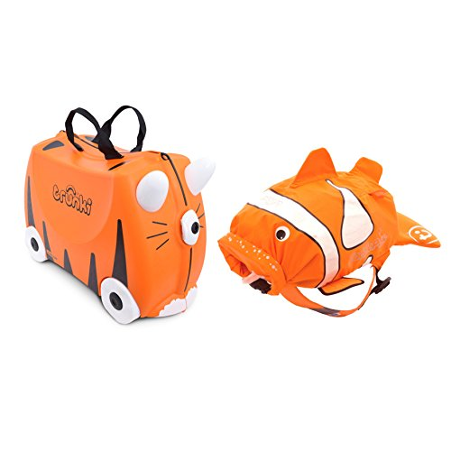 Trunki Ride-on Suitcase und PaddlePak Koffer-Set, 18 Liter, Orange