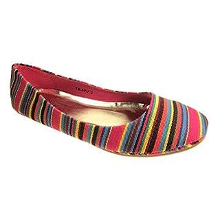 CHERAQ Ladies Fashion Flat Ballerina Dolly Pumps Shoes (7, Multi)
