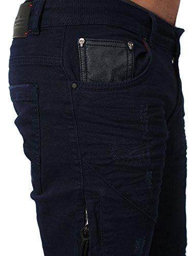 RNT23 Homme Jeans AVALON dans le Mince Fit Section avec Kunstlederapplikationen et détruit Regardez Marine