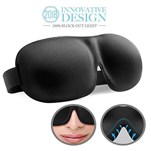 Schlafmaske,2018 neue Design-Augenmaske,3D Hautfreundlich Schlafbrille,Innovative Lichtblockierungstechnik und bequem Weich und leichte Augenmaske,ideal für Reisen,Nickerchen,Nacht,Schwarz