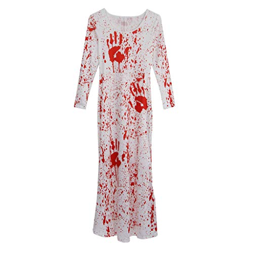 SunniMix Horror 3D Graphic Print Blut Palm Langarm Kleid Frau Damen Halloween Kostüm - S oder M
