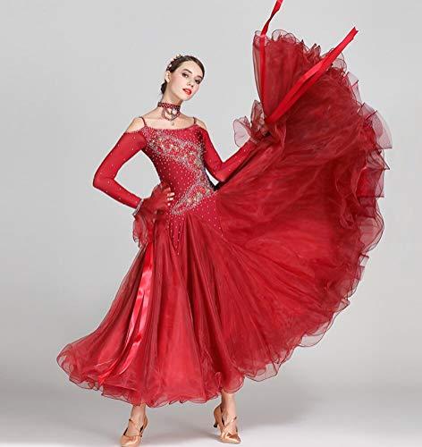Z&X Women Es Modern Ballroom Dance Kostüm Sling Professional Set Spandex Lycra/Hohe Dichte Garnrot,XL (Lycra Dance Kostüm)