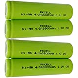Ni-MH Rechargeable 4/3A 3800mAh 1.2v Batteries with Flat Top 1000 Cycles Pack of 4pc