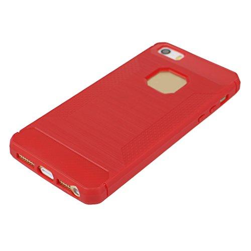 Coque iPhone 5 Case, Apple iPhone 5S Housse Cas Rosa Schleife® Coque iPhone 5 Noir Fibre Carbon TPU Gel de Silicone Ultra mince Housse de Protection Anti-Choc et Scratches Back Bumper Cover Arriere Co Rouge