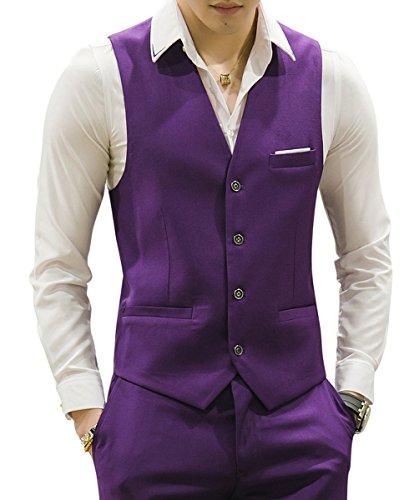 MOGU Gilet da Uomo Causale Suit Gilet 10 Colori IT 50(Label 3XL) Viola