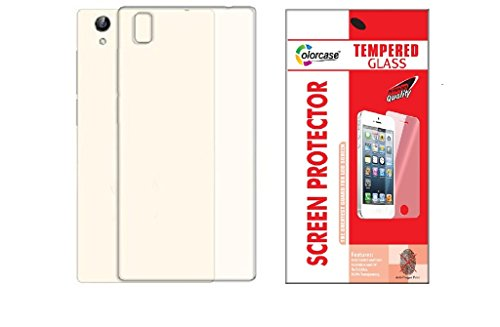 Colorcase Transparent Back Cover Case for Vivo Y51L with Tempered Glass (Combo Set)