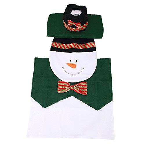 Bow Tie Tank (3Stück/Set Warm Xmas Badezimmer Weihnachten Cartoon Elf WC-Sitz Bezug Set und Teppich Dekoration für Home Urlaub Geschenk, Flanell, Bow Tie Snowman, Toilet Cover - 43.5*36cm;Tank Cover-40*20*10.5cm)