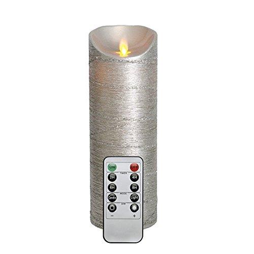 Reales Wachs 8 x 22,9 CM Flackernde Flamme Flammenlose Silber LED Kerze mit Fernbedienung und Timer