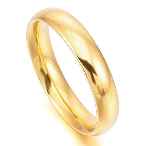 MeMeDIY 4mm Oro Dorado Acero Inoxidable Banda Venda Anillo Ring Alianzas Boda Amor Love Talla Tamaño 20 - Grabado personalizado