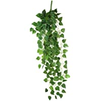 AKORD Hojas Artificiales para Colgar Plantas, Tela, Verde, 90 x 40 x 10 cm