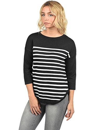 ickpullover Feinstrick Pullover Mit Rundhals Und Streifenmuster, Größe:XL, Farbe:Black/Stripes Cloud Dancer ()