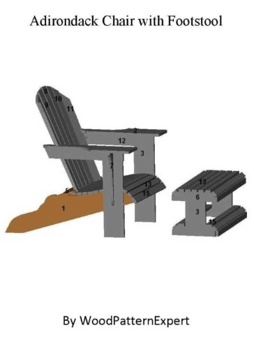 Build Your Own Adirondack Chair With Footstool Pattern: Plan Is So Easy, Beginners Look Like Experts (English Edition)