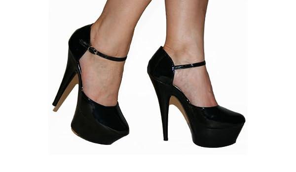ef59f3ef65ea Chanel - Black Patent Stiletto Platform d Orsay Style 6 inch High Heels  Shoes -Size  UK 11
