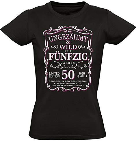 Geburtstags Shirt: Ungezähmt und Wild 50 Jahre - Geburtstags T-Shirt 50. Jahre - Geschenk zum 50. Geburtstag - Jahrgang 1968 - Damen Tshirt 50 Geburtstag Mädchen - Geburtstag-Shirt Frau 50, Schwarz, L - Damen Pink Glitter T-shirt