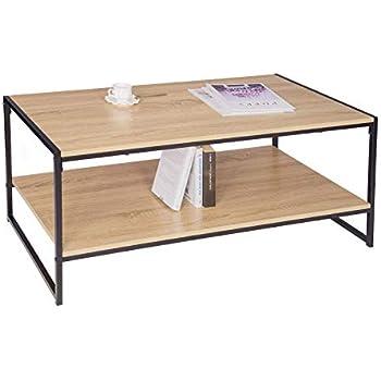 Table basse de salon en bois et métal - Style industriel, Vintage et ...