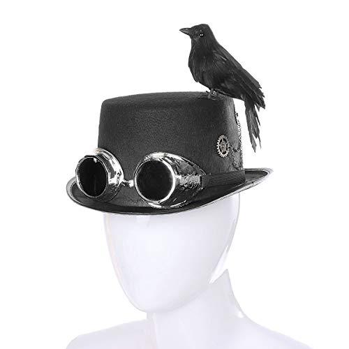 Viktorianischen Kostüm Raven - WASAIO Steampunk Crow Hat Halloween Kostümzubehör Black Top Hat