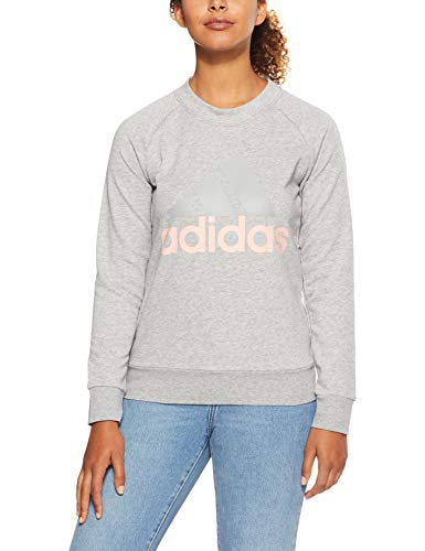 adidas Damen Essentials Linear Langarm Sweatshirt, Grey Heather/Haze Coral, M