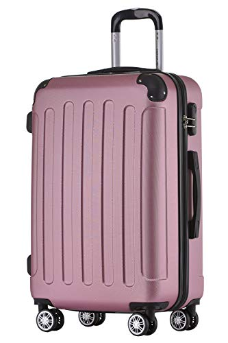 BEIBYE Hartschalen-Koffer Trolley Rollkoffer Reisekoffer Handgepäck 4 Rollen (M-L-XL-Set) (Rosa, XL)