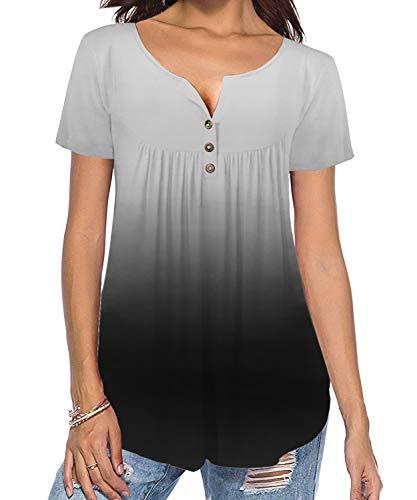 TUDOU Damen Bluse Lässige Kurzarm Button Up Gradient Gefaltete Tunika Tops Henley Tops Lose Gebogene Hem Shirts (M, Hellgrau) - Button-up T-shirt Henley