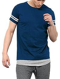 Maniac Men's Half Sleeve Stripes Round Neck Cotton Tshirt