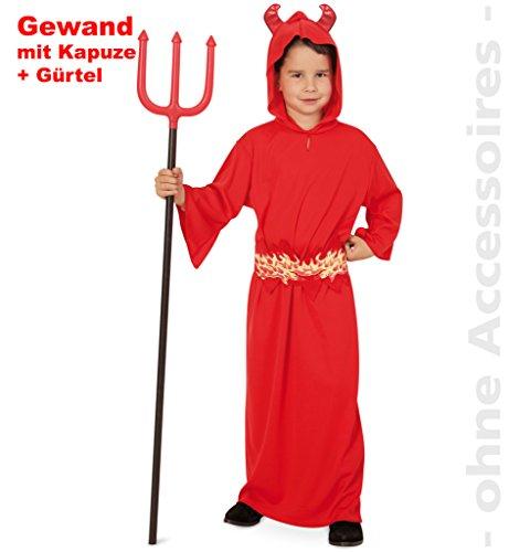 Teufel Kostüm für Kinder, kleiner Teufel, Gewand mit Kapuze und Gürtel, für Karneval (140)