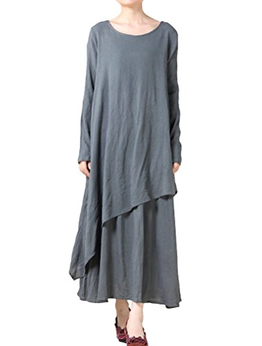 MatchLife Women's New Solid Double Layer Irregular Hem Dress Grey