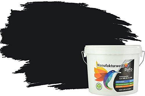 RyFo Colors Bunte Wandfarbe Manufakturweiß Schwarz 6l - weitere Grau Farbtöne und Größen erhältlich, Deckkraft Klasse 1, Nassabrieb Klasse 1