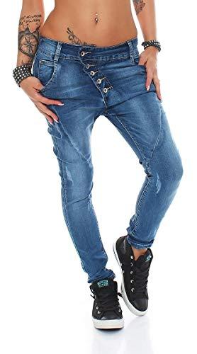 Fashion4Young 10243 Damen Jeans Hose Boyfriend Haremsjeans Haremsstyle Röhre Damenjeans Pants (M=38, Dunkelblau)
