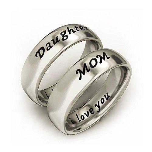 Mom-ring-schmuck (Mutter und Tochter Geschenke Einfache weiße Gold überzogene Kupferband Ringe für Frauen graviert mit Ich liebe dich (Mom 57&dau 57))