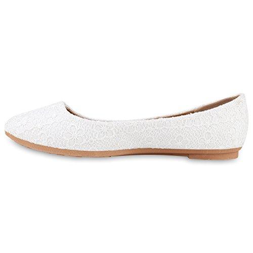 Klassische Damen Ballerinas | Lederoptik Flats | Schuhe Übergrößen | Flache Slipper | Spitze Prints Strass Weiss Muster