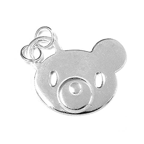 925m silver pendant Law bear face head silhouette [722]
