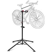 Relaxdays - Soporte caballete plegable para bicicletas, acero pulverizado, soporte hasta 30 kg, altura ajustable desde 110 - 190 cm, color negro