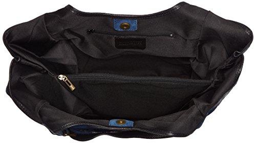 CTM Borsa a mano da donna, borsa a sacca in vera pelle made in Italy fantasia Animalier 46x37x5 Cm Blu