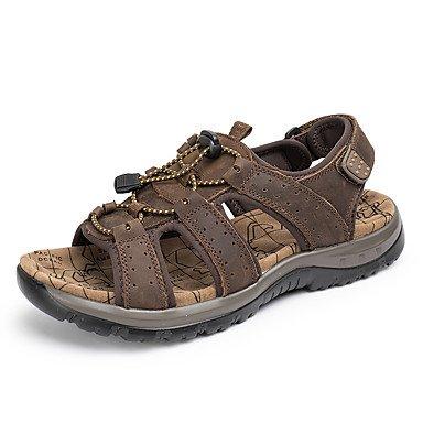 Classic Style Sommer Casual Herren Sandalen flachem Absatz strapazierfähigem Echtem Leder Sandbeach Freizeit Schuhe Hochwertiger Slip-on Schuhe/Outdoor/Casual Dark Brown